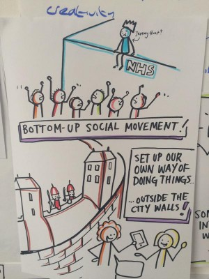 Graphic facilitation drawing showing disruptive innovation