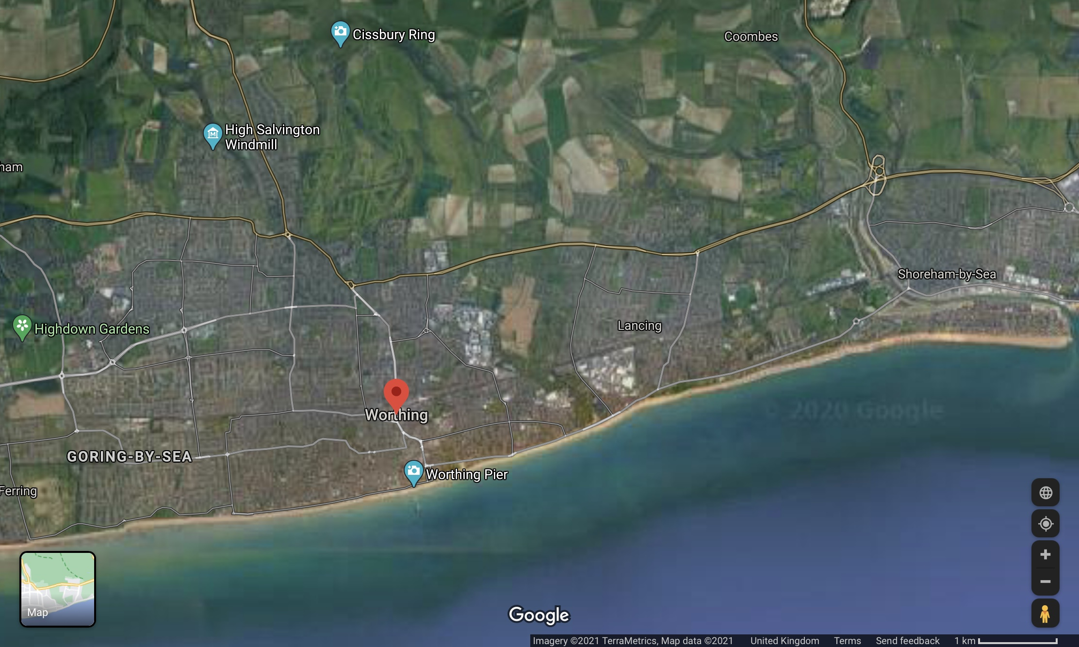 Google map showing Adur and Worthing